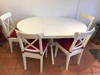 IKEA Round Extendable Dining Table & 4 Chairs
