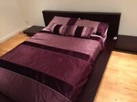 KINGSIZE BED WITH HEADBOARD AND MATTRESS and side lamp tables