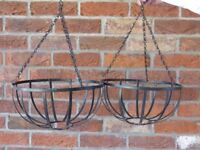 TWO METAL HANGING BASKETS - VERY GOOD CONDITION