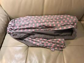 Baby sling - 'ring sling' grey with pink polka dots