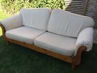 Beautiful Ducal 3 seater sofa with solid pine frame, washable covers, vgc