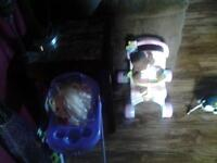 Doll High Chair And Doll Stroller