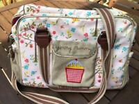 Yummy Mummy Pink Lining changing bag - cherry blossom design