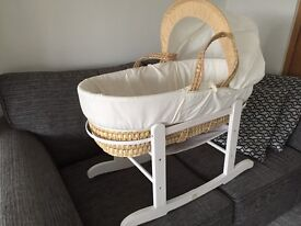 Moses basket and white rocking stand