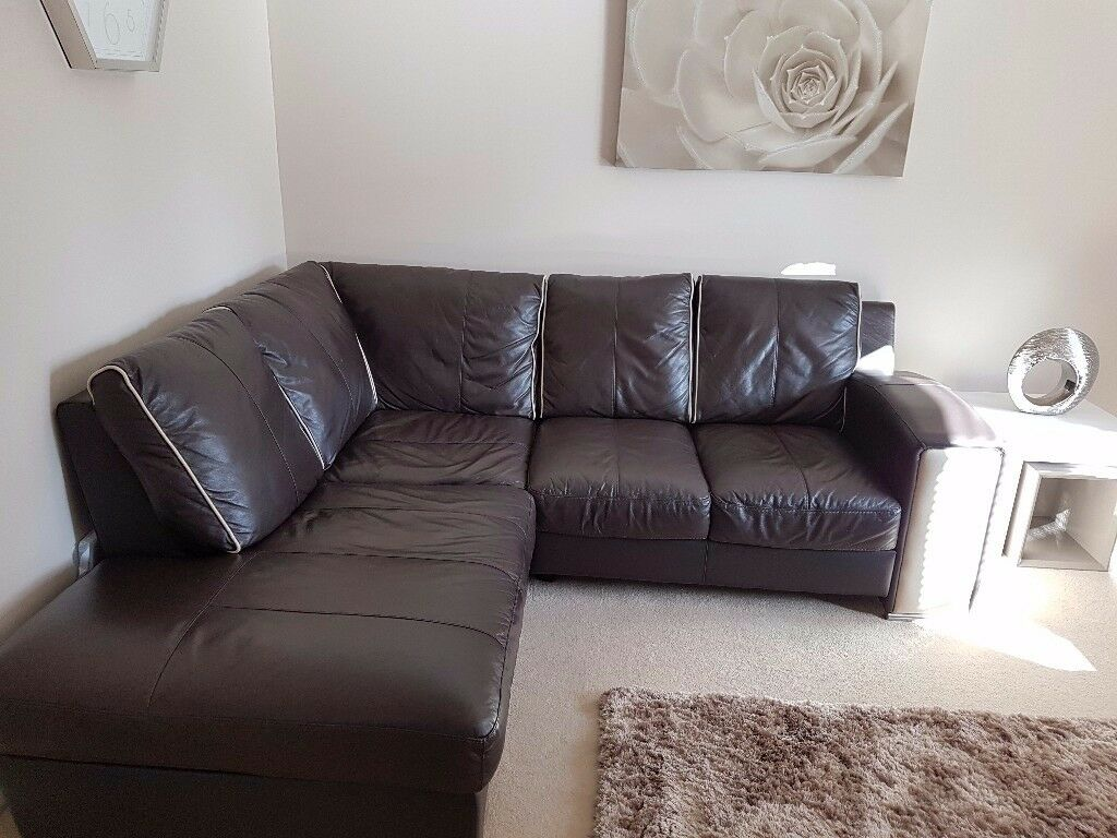 Leather corner & two seater sofa