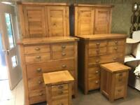 2 top of the range oak bedroom sets £875 each RRP £3200