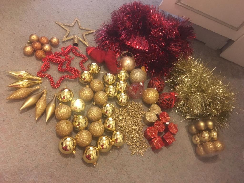 red gold christmas decorations