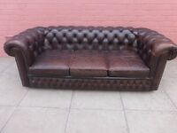 A Vintage Brown Leather Chesterfield Three Seater Sofa Settee