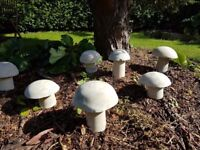 Stone effect mushrooms/garden ornaments