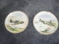 """EDWARDIAN FINE BONE CHINA COLLECTABLE PLATES - MOSQUITTO & HAWKER HURRICANE 6"""" ACROSS"""