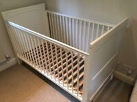 White John Lewis cot with adjustable base, mattress & covers - great condition