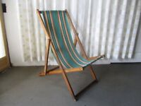VINTAGE TRADITIONAL STRIPED DECKCHAIR WITH FABRIC SEAT No1