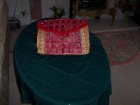 Brand New Lovely Handcrafted Fashionable Accessory HandBag (Red and Gold).