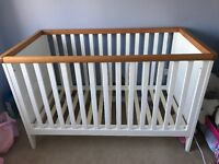White and oak cot-bed