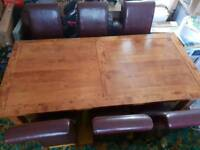 Dining Table & 6 leather rolled top chairs