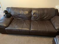 Brown Leather Sofa & two chairs