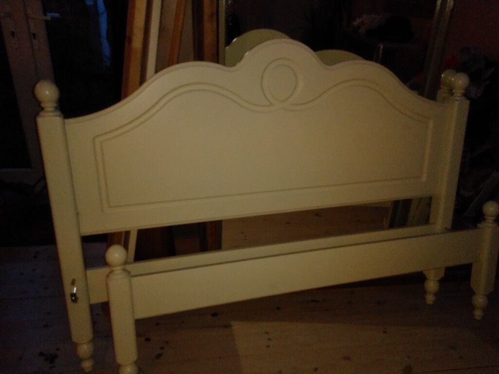 Double bed frame, in vgc, cream coloured (without