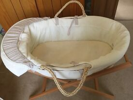 Mama & Papa's Moses basket with stand & cotton fitted sheets