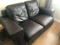 2 piece Brown leather sofa suite