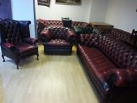 Quality Ox Blood Leather Chesterfield3 Setterclub Chairhigh Back Queen Anneexcellent