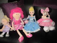 4 soft toys Cinderella Minnie mouse & 2 fairy soft dolls