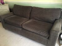 Next 3 seater brown fine cord sofa super quality! Reduced!