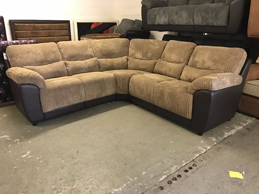 Littlewoods sienna brown cord fabric and leather 5 6 for Sofa 6 seater