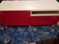 Ikea Besta Tv Bench In Light Oak With a Glossy Red Door and Drawer