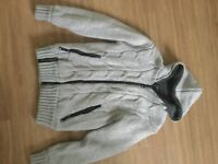 Mens thick woolly zip up hooded cardigan