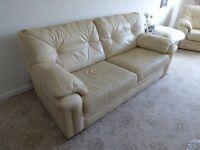 GPlan Sofa and three armchairs, Panama, beige leather