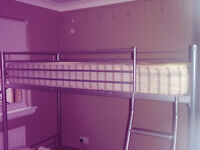 Children's Bunk Bed, great condition, single bed on top, bottom folds into couch, top mattress incl