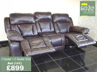 Designer Brown Leather 3 seater + 2 seater sofa (141) £899
