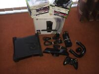 XBOX 360 KINECT 250 GB - in box, 17 games, headset, controller, steering wheel and kinect bar