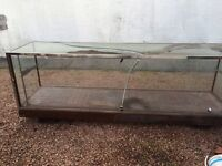 Glass Shop Counter Display Unit, glass on top cracked, free to uplift