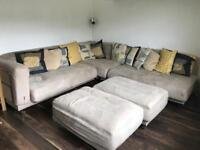 Ikea suedette Corner Suit good condition, curtains and cushions