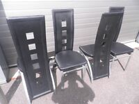 4 black leather chairs for sale