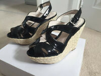 Faith Black Sandal Wedge Heel - UK Size 5