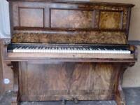 RAMSDEN WALLNUT INLAID ART NUVO PIANO £140 CAN DELIVER TUNED