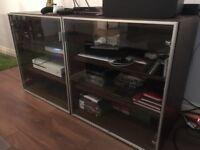Walnut storage units and matching coffee table