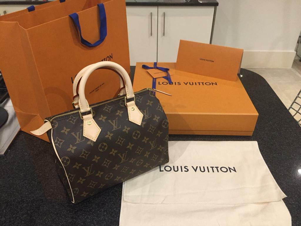 aca6fcd867fa Louis Vuitton Speedy 25 Monogram Handbag w Gift Box   Receipt