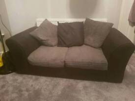 2 seater sofa, black suede and grey fabric