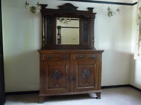Mahogany Edwardian Dresser with mirror (vgc) - Reduced for house move (collection only)
