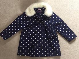 Primark girls coat 6-7 blue spotty