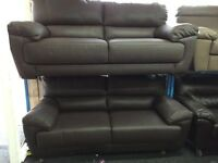 Reid Abella Brown Leather 3 Seater Sofa + 3 Seater Sofa NEW/Ex Display