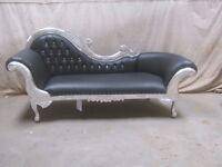 NEW 3 Piece Paris Silver leaf gilded black Chaise Longue Set Wedding Sofa Ornate Lounge Furniture