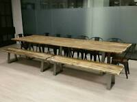 Bespoke Industrial Style 8ft Dining Table with Steel Legs