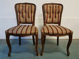 PAIR OF MAHOGANY BEDROOM CHAIRS WITH PADDED SEATS AND BACKS / TWO WOODEN CHAIRS DELIVERY AVAILABLE