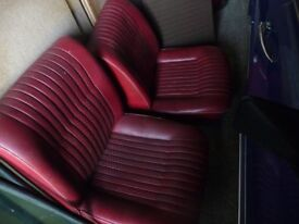 VINTAGE TRIUMPH FRONT SEATS IN RED - FROM DOLOMITE RANGE