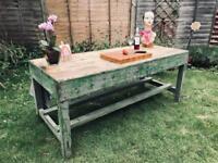 Vintage work bench now a stunning kitchen island