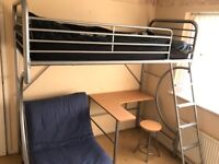 Bunk bed (metal frame) with desk and futon